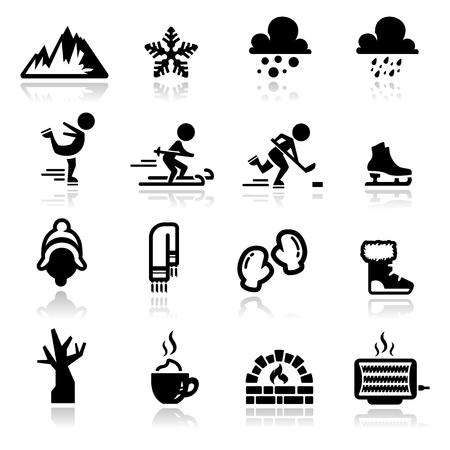 patinaje sobre hielo: Iconos conjunto de invierno