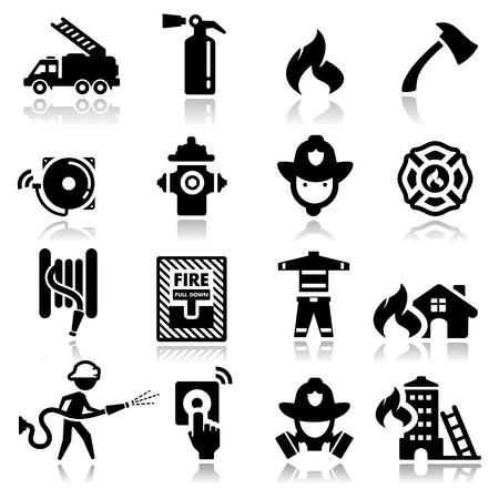 incendio casa: Iconos conjunto del cuerpo de bomberos