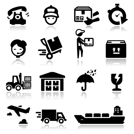 ship parcel: Icons set  shipping and delivery Illustration