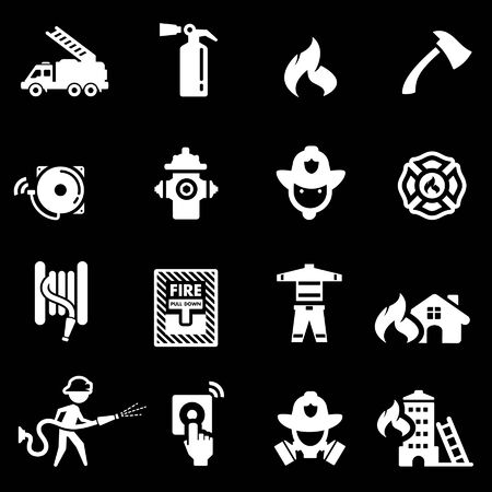 firefighting: Firefighting Icons set White series  Illustration