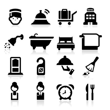 tr�sten: Hotel Icons gesetzt elegante Serie Illustration