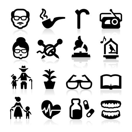 anciano: Iconos de estilo de vida de alto nivel creado elegante serie Vectores