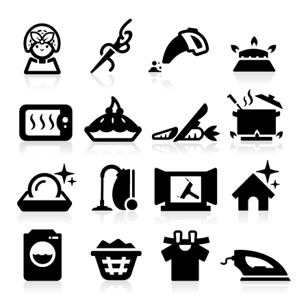 wash dishes: Housekeeping Icons set elegant series