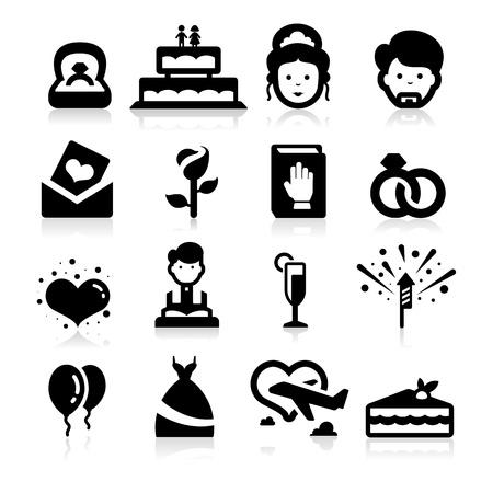 luna de miel: Iconos de la boda establece seris elegantes