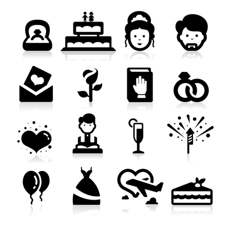 Wedding icons set elegant seris Vector