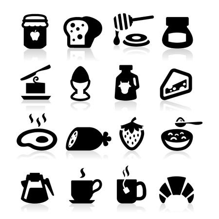pan con mantequilla: Iconos Desayuno establece elegante serie Vectores