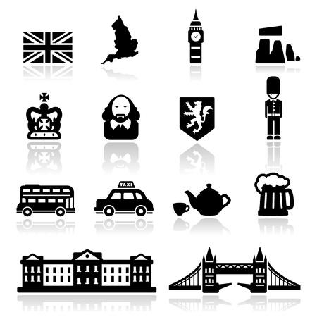 london: Engeland iconen set - Elegant serie Stock Illustratie