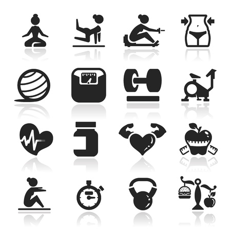 ejercicio aer�bico: Gimnasio iconos conjunto - la serie elegante