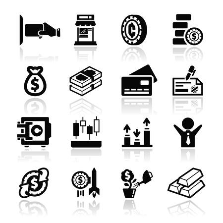 money bag: Money icons set - Elegant series Illustration