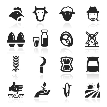 Farm icons set - Elegant series Illustration