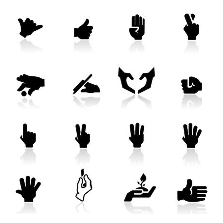 four hands: Hands icons set - Elegant series
