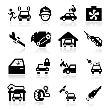autolavaggio: Riparazioni auto icons set della serie Elegant Vettoriali