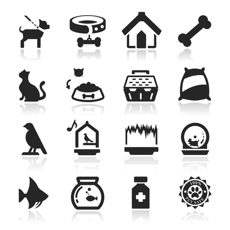 cat fish: Pets icons set - Elegant series