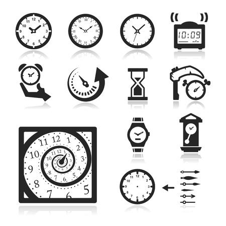 reloj de pared: Tiempo iconos conjunto - Serie Elegant Vectores