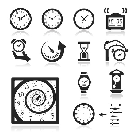 Time icons set - Elegant series Vector