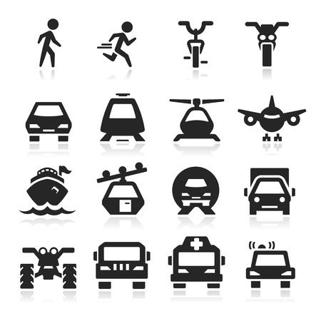 transportes: Iconos del transporte fijados - serie Elegante Vectores