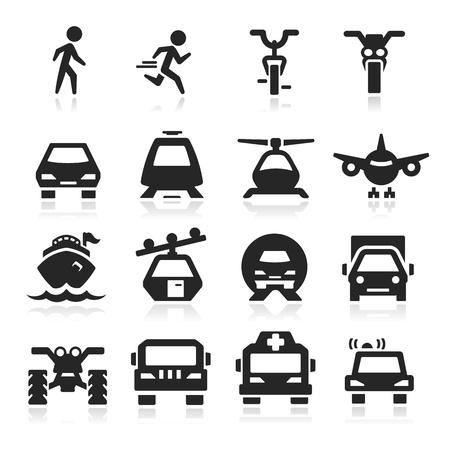 railway transportations: transportation icons set - Elegant series Illustration