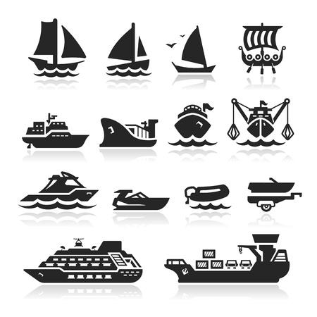 barca da pesca: Barche icone set - Serie Elegante