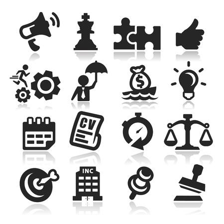 balanza en equilibrio: Iconos de negocios conjunto - la serie elegante