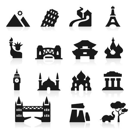 great wall: Landmarks icons set - Elegant series