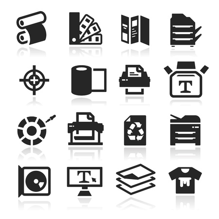 Print icons set - Elegant series Vector