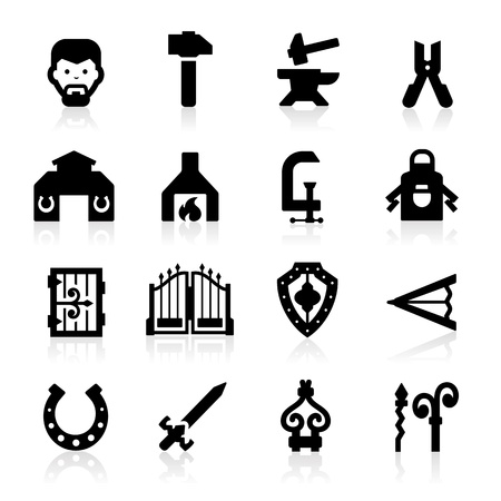 blacksmith shop: Blacksmith Icons set - Elegant series