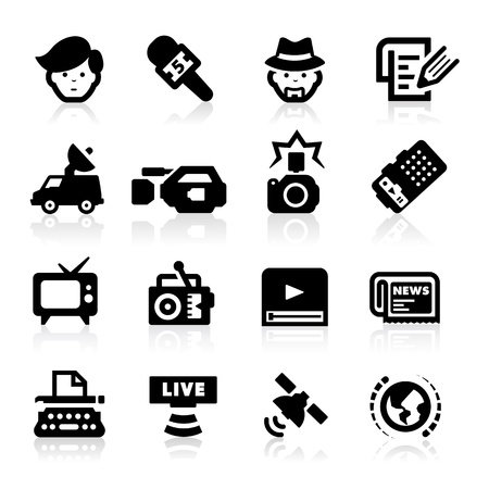 news van: Reporter Icons set - Elegant series