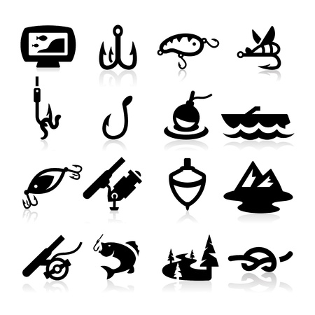 hooks: Fishing Icons set - Elegant series Illustration