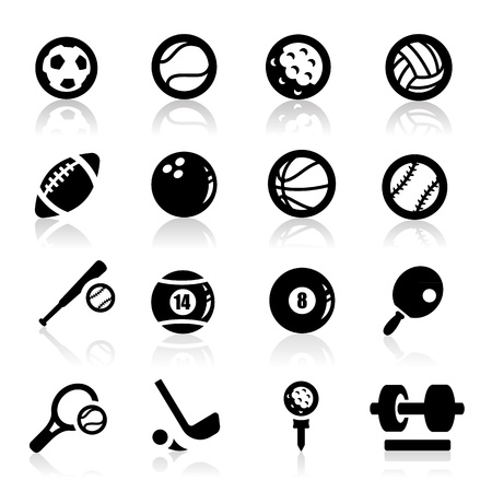 black icons: Sports Icons set - Elegant series