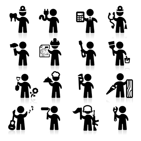 profesiones: Los iconos de puestos de trabajo establecido elegante serie