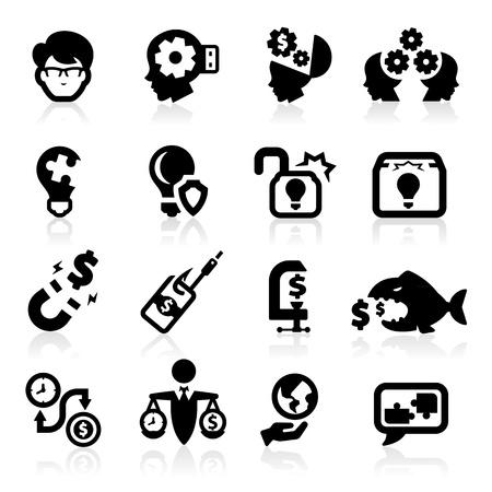 pensamiento creativo: Las ideas de negocios y los iconos de conceptos establecidos Vectores
