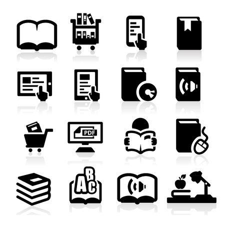the reader: Books icons set Elegant series