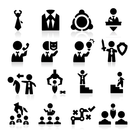 managing: Executive icons set Elegant series Illustration