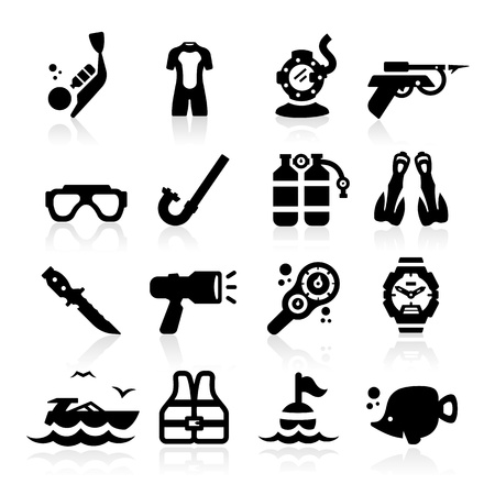 snorkel: Duiken pictogrammen instellen Elegant serie Stock Illustratie