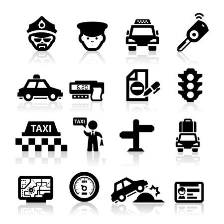 Icônes d'affaires de taxi mis en série élégante