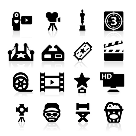 movie film: Film industry icons set Elegant series Illustration