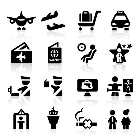 pasaporte: Iconos del aeropuerto establece elegante serie Vectores