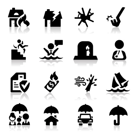 drowning: Insurance icons set Elegant series