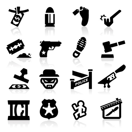 dieven: Crime pictogrammen instellen Elegant serie Stock Illustratie