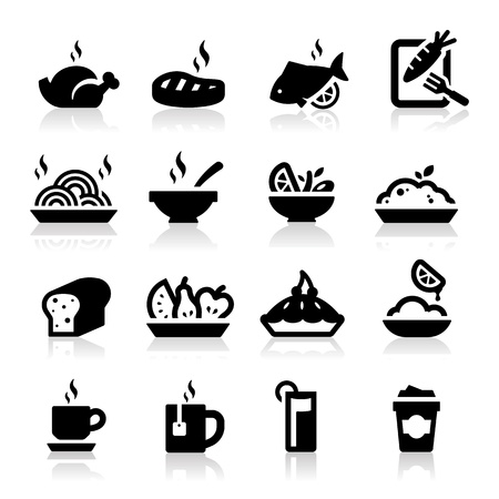 食べ物や飲み物のアイコン セット エレガント シリーズ  イラスト・ベクター素材