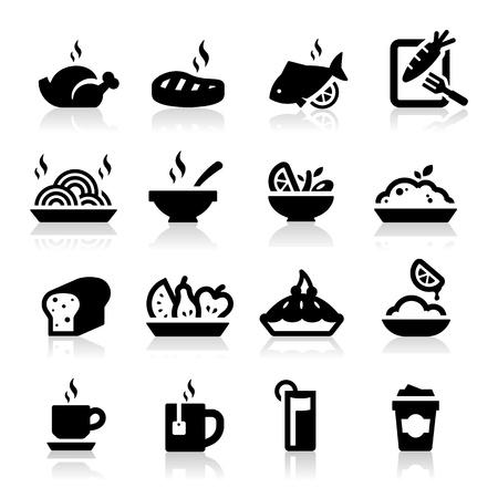 thực phẩm: Thực phẩm và Đồ uống các biểu tượng thiết lập hàng loạt Elegant