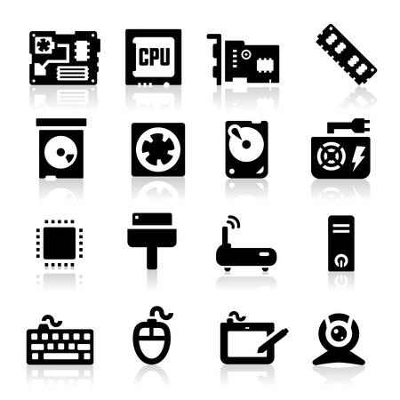 memory board: Los iconos de configuraci�n de la computadora Vectores