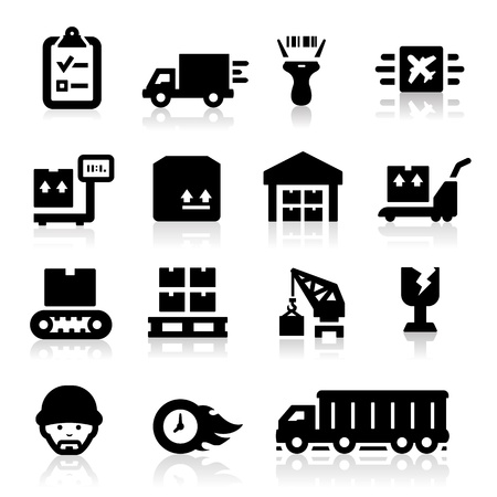 warehouse storage: Logistics icons set