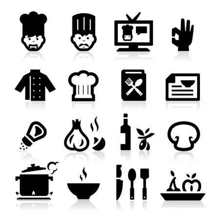 cook hats: Chef iconos Vectores