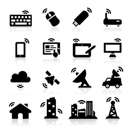 omroep: Draadloze iconen Stock Illustratie