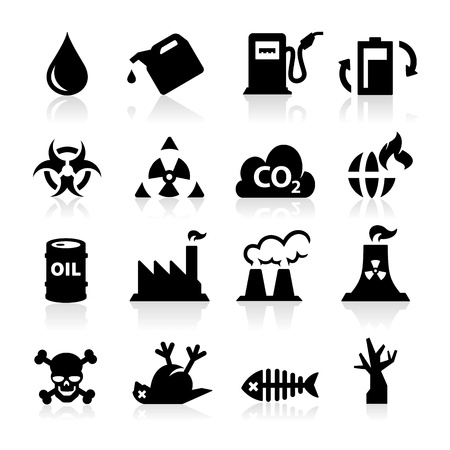 radiation pollution: Pollution icons