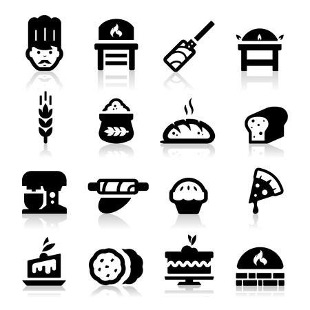 amasando: Panader�a icono Vectores