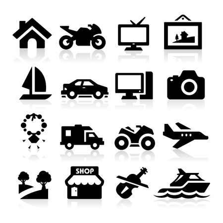 Iconos de la propiedad Ilustración de vector