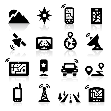 sun road: GPS Icons Illustration