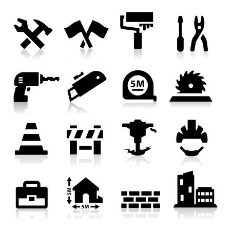 cinta de medir: Construcción icono Vectores